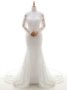 Edgy Brush Train Mermaid Wedding Gown White Scalloped Lace Long Sleeves With Train Zipper