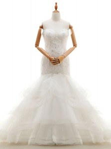 Beautiful Mermaid Sweetheart Sleeveless Wedding Gowns With Brush Train Beading and Lace and Ruffled Layers White Organza