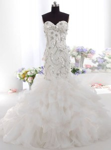 Sweet Mermaid White Tulle Zipper Bridal Gown Sleeveless Brush Train Beading and Appliques