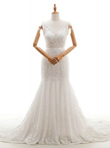 Mermaid V-neck Sleeveless Chapel Train Backless Wedding Gown White Lace