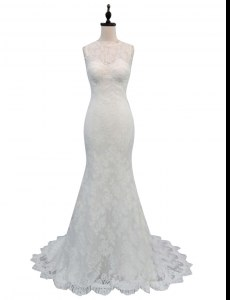 White Mermaid Lace High-neck Sleeveless Lace With Train Backless Wedding Gown Brush Train