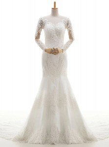 Mermaid With Train White Wedding Dresses Lace Brush Train Long Sleeves Lace and Appliques