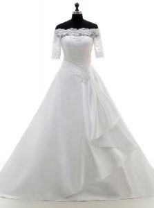 Fancy White Satin Clasp Handle Off The Shoulder Half Sleeves With Train Wedding Dresses Brush Train Lace