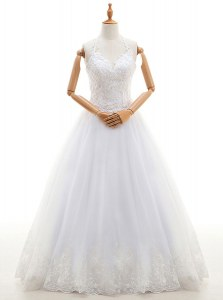 Halter Top White Sleeveless Organza Lace Up Bridal Gown for Wedding Party