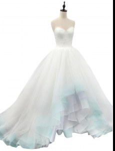 Multi-color Organza Lace Up Sweetheart Sleeveless High Low Wedding Gown Beading and Appliques