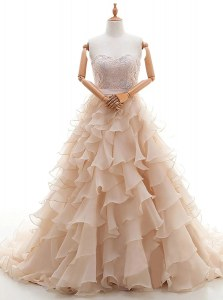 Artistic Peach Bridal Gown Wedding Party and For with Lace and Ruffled Layers Sweetheart Sleeveless Brush Train Lace Up