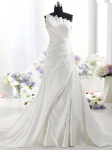 Attractive White Zipper One Shoulder Ruffles Wedding Dress Satin Sleeveless Chapel Train