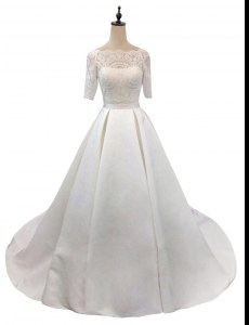 White Half Sleeves Satin Chapel Train Zipper Wedding Gowns for Wedding Party