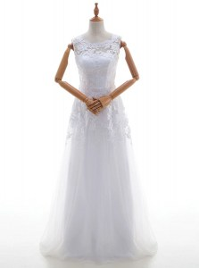 White Lace Up Scoop Lace and Appliques Wedding Dress Tulle Sleeveless Brush Train