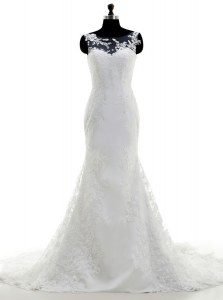 Mermaid Scoop White Sleeveless Lace Brush Train Clasp Handle Bridal Gown for Wedding Party