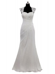 Pretty White Side Zipper Wedding Dresses Lace Cap Sleeves Floor Length