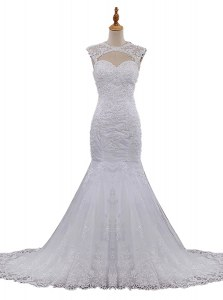 Super Mermaid Scoop Lace Sleeveless With Train Wedding Gown Brush Train and Beading and Lace
