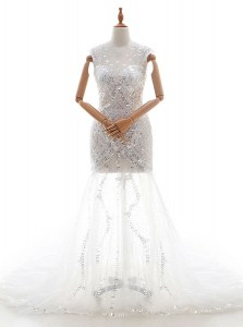 Excellent White V-neck Zipper Beading and Sequins Wedding Gown Court Train Sleeveless