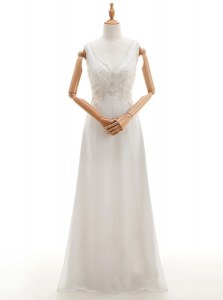 White V-neck Neckline Beading Wedding Dress Sleeveless Backless
