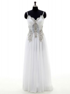 Latest V-neck Sleeveless Wedding Dresses Floor Length Beading and Appliques White Chiffon