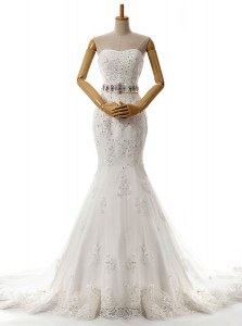 Latest Mermaid White Lace Up Sweetheart Beading and Lace and Appliques Wedding Gowns Lace Sleeveless Brush Train