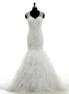 Mermaid White V-neck Neckline Beading and Lace and Ruffles Wedding Dresses Sleeveless Clasp Handle