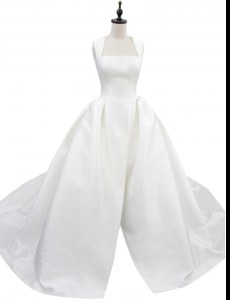 Sleeveless Satin With Train Court Train Zipper Wedding Dress in White with Ruching