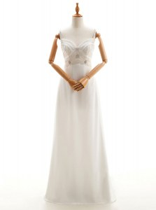 White Sleeveless Chiffon Backless Wedding Dress for Wedding Party
