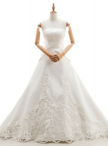 White A-line Strapless Sleeveless Satin and Lace With Train Chapel Train Lace Up Lace Wedding Dresses