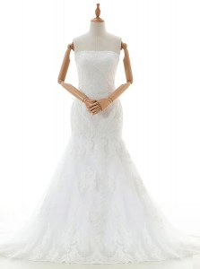 Best Mermaid White Sleeveless With Train Lace and Appliques Clasp Handle Wedding Gown