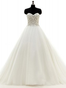 White Wedding Dress Wedding Party and For with Beading Sweetheart Sleeveless Brush Train Clasp Handle