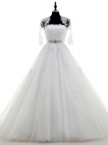 Cute White Ball Gowns Tulle Strapless Sleeveless Beading and Lace and Appliques With Train Lace Up Wedding Gown Brush Train