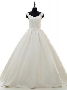 White A-line Satin V-neck Sleeveless Lace and Belt Zipper Wedding Dress Brush Train