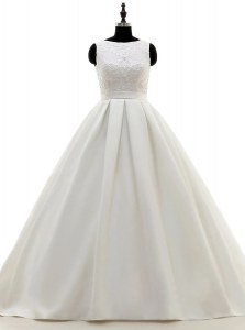 Scoop White Sleeveless Brush Train Lace and Appliques and Bowknot With Train Wedding Dresses