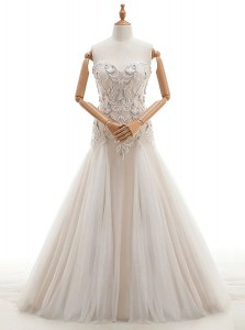 Vintage White Tulle Lace Up Sweetheart Sleeveless With Train Wedding Gowns Brush Train Beading