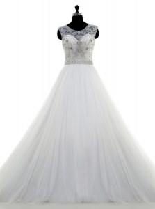 White Clasp Handle Scoop Beading Wedding Gowns Tulle Sleeveless Brush Train