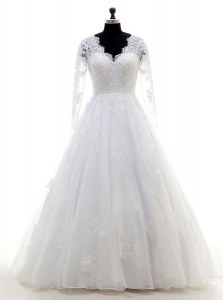 Romantic Long Sleeves Organza Floor Length Clasp Handle Wedding Dress in White with Beading and Lace and Appliques