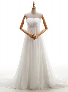 Customized White Bridal Gown Wedding Party and For with Beading Sweetheart Sleeveless Brush Train Lace Up