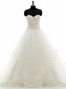 White Sleeveless Brush Train Beading and Ruffles With Train Wedding Dress