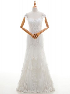 Hot Sale Floor Length Lace Up Wedding Gown White for Wedding Party with Lace and Appliques
