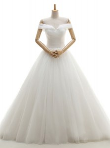Off the Shoulder White Sleeveless With Train Ruching Lace Up Wedding Dresses