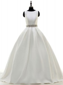 Scoop White Sleeveless Sweep Train Beading With Train Wedding Dress
