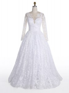 White Wedding Gown Wedding Party and For with Lace Scoop Long Sleeves Clasp Handle