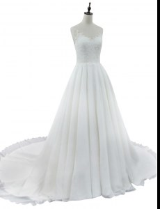 White Wedding Gowns Wedding Party and For with Lace V-neck Sleeveless Court Train Zipper