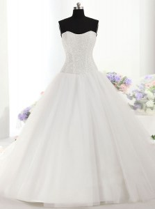 Sleeveless Brush Train Beading Lace Up Wedding Gowns