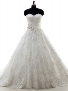 Lace Up Bridal Gown White for Wedding Party with Lace and Appliques Brush Train
