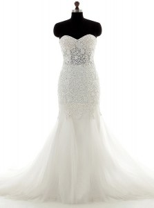 Brush Train Mermaid Bridal Gown White Sweetheart Tulle Sleeveless With Train Lace Up