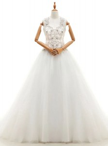 Modest With Train White Wedding Dresses V-neck Sleeveless Brush Train Lace Up