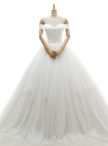 Charming Tulle Off The Shoulder Sleeveless Chapel Train Lace Up Ruching Wedding Dress in White