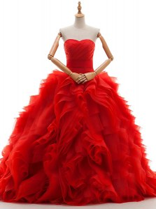 Red Wedding Gowns Wedding Party and For with Ruffles and Ruching Sweetheart Sleeveless Brush Train Lace Up