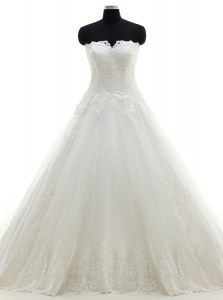 Chic Strapless Sleeveless Bridal Gown With Brush Train Lace and Appliques White Tulle