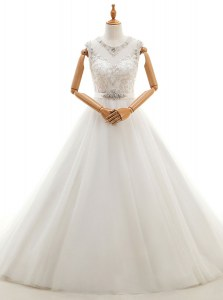 White Scoop Neckline Beading and Lace Wedding Gowns Sleeveless Clasp Handle