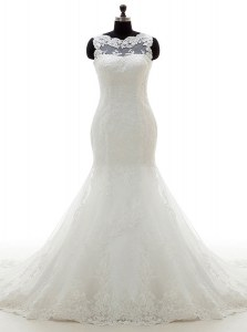 Mermaid Scoop Appliques Bridal Gown White Clasp Handle Sleeveless With Train Court Train