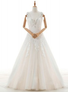Spectacular White Tulle Zipper V-neck Sleeveless With Train Bridal Gown Court Train Appliques