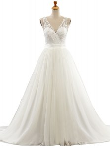 With Train White Wedding Dresses V-neck Sleeveless Brush Train Clasp Handle
